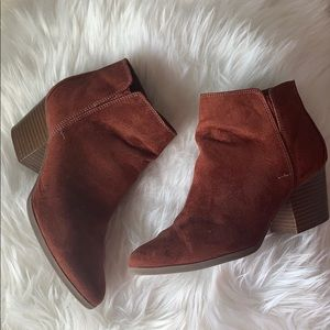 Rust color ankle booties